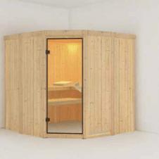 con pareti di spessore di 68 mm realizzata in legno d'abete rosso nordico naturale