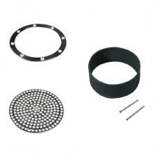 Flangia, griglia e distanziale per scarichi di fondo di qualsiasi diametro