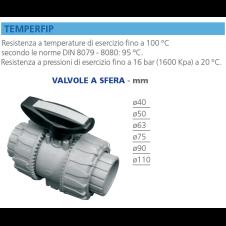 Valvola a sfera Temperfip in PVC mm - resistente alle alte temperature